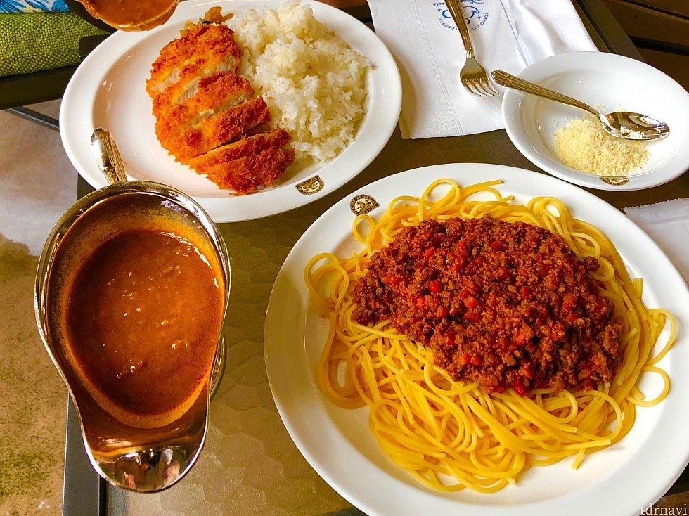 ポークカツカリーと、スパゲティ・ミートソース