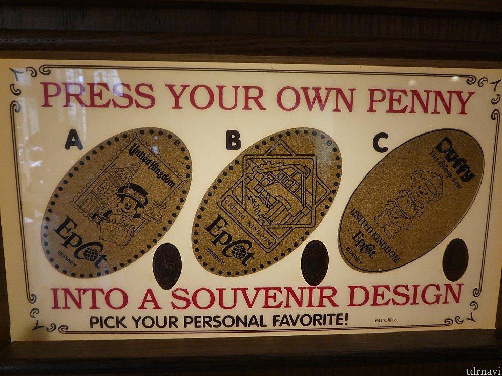 ▼イギリス館 A ロンドンを旅するミッキーの切手デザイン B イギリス館でも存在感のあるTea House C イギリスファッションに身を包んだDuffy