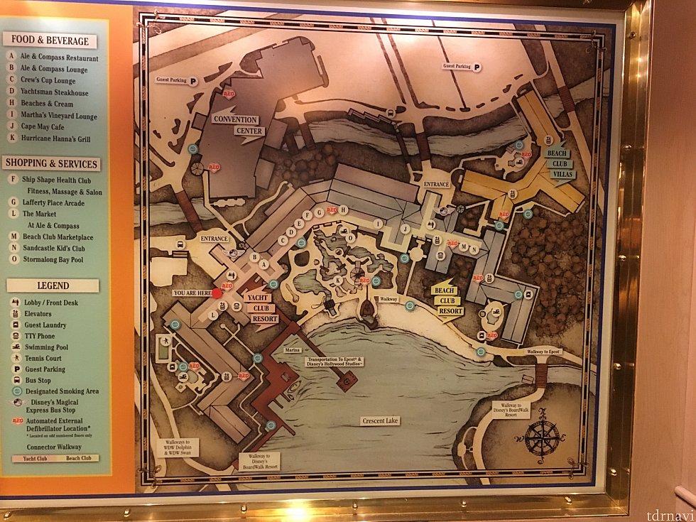 ヨットクラブで迷子になった際に撮った館内図。この時右のビーチクラブがまったく目に入ってませんでした笑