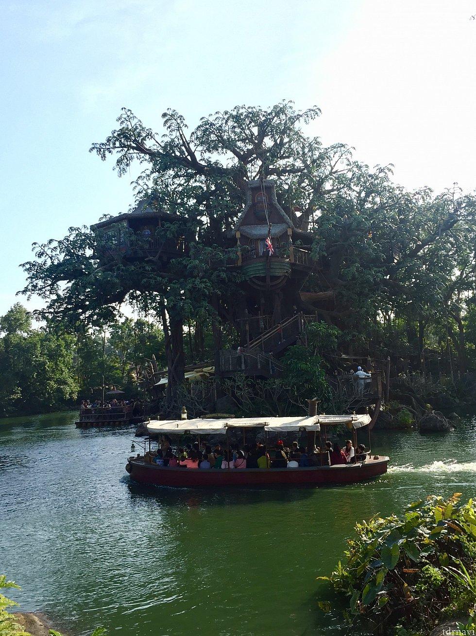 ジャングルクルーズの船がターザンのツリーハウス前を横切ります🔅