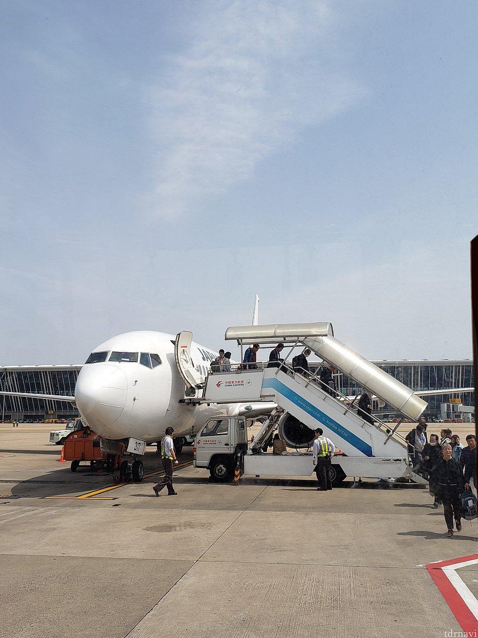 浦東空港は行きも帰りもバス移動。