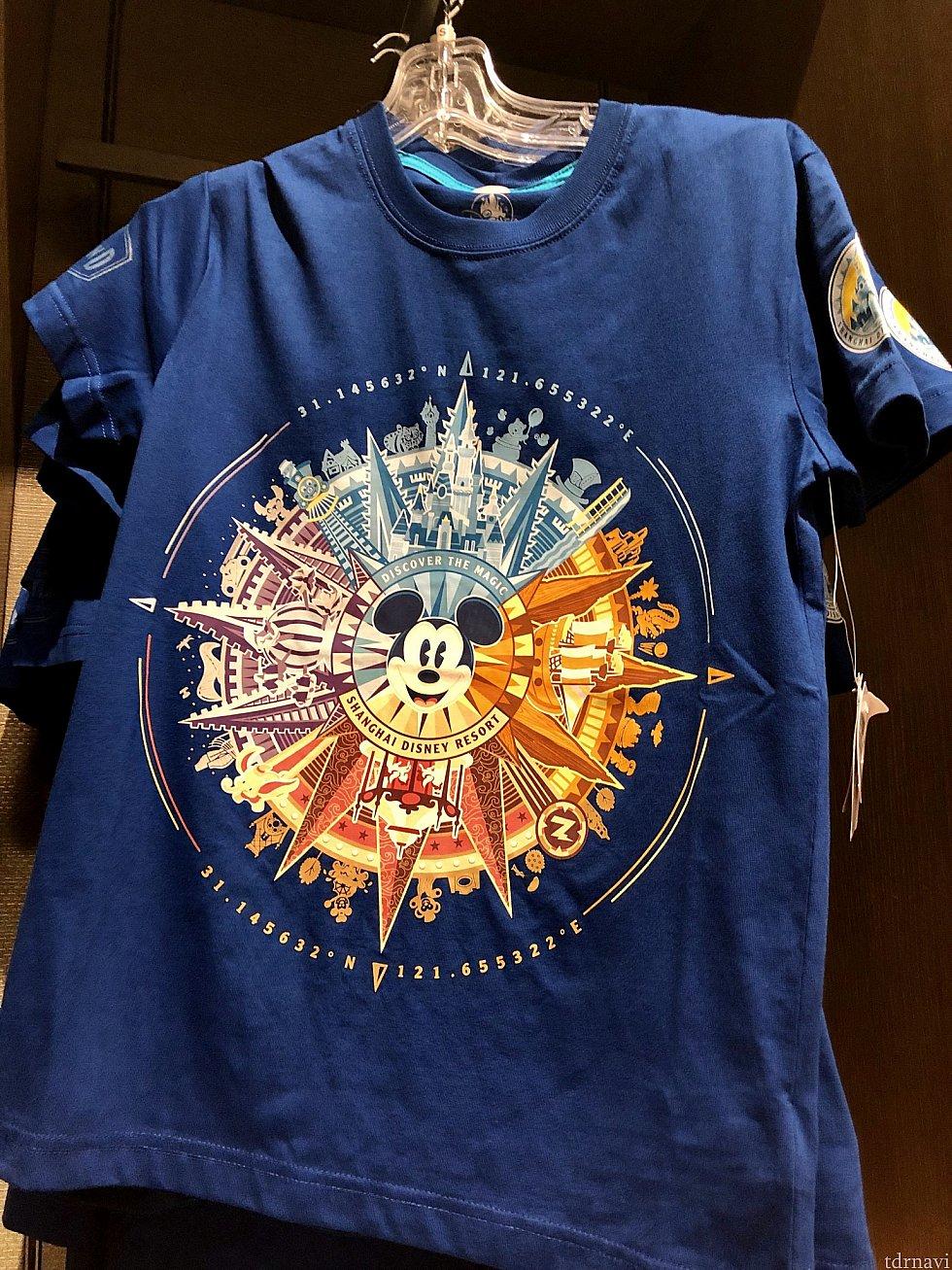 大人用Tシャツ 149元。よく見ると、ダッフィーやプーさん、スティッチもいます