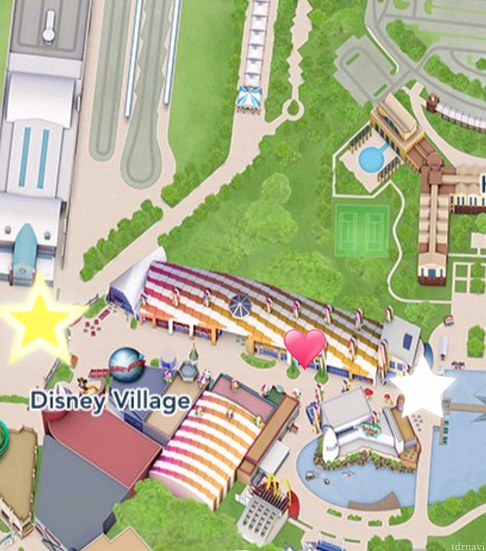 ハートがショップ場所です。黄色星はパーク、ディズニーランドホテル側。白い星はディズニーホテルニューヨーク側です。