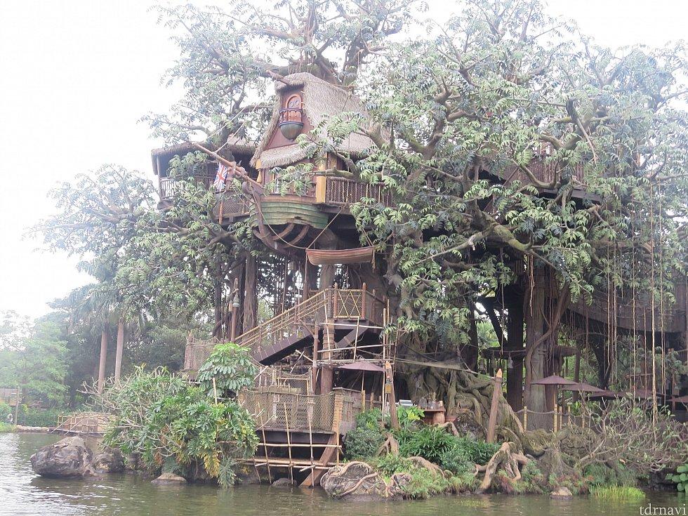 対岸にあるターザンのツリーハウス!すごい!!