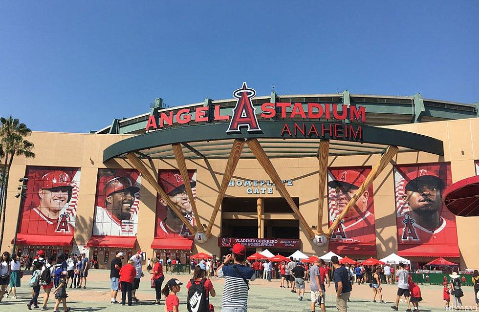 スタジアム正面。ここから入場します。