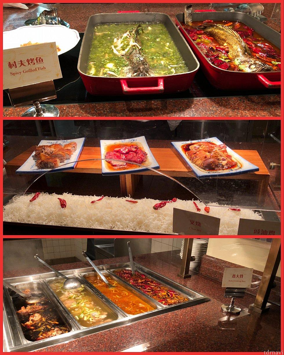 中華 真ん中のチャーシューが美味しかったです 上は魚、下は煮込み料理かな?