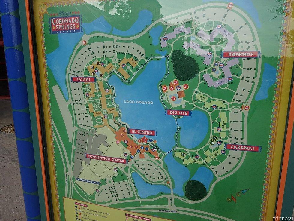 全体のマップ。バス停が4つあるくらい敷地は広いです。今回は右側のCABANASエリアに宿泊しました。