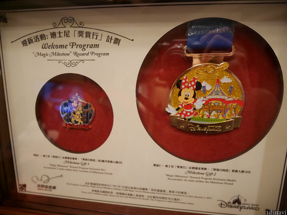 【マジックマイルストーンプログラム】年パス購入後3ヶ月以内に3日入園すると年パスセンターでピンバッチが、1年以内に10回行くと右のメダルがもらえます! ※詳しくは別のクチコミをご覧ください