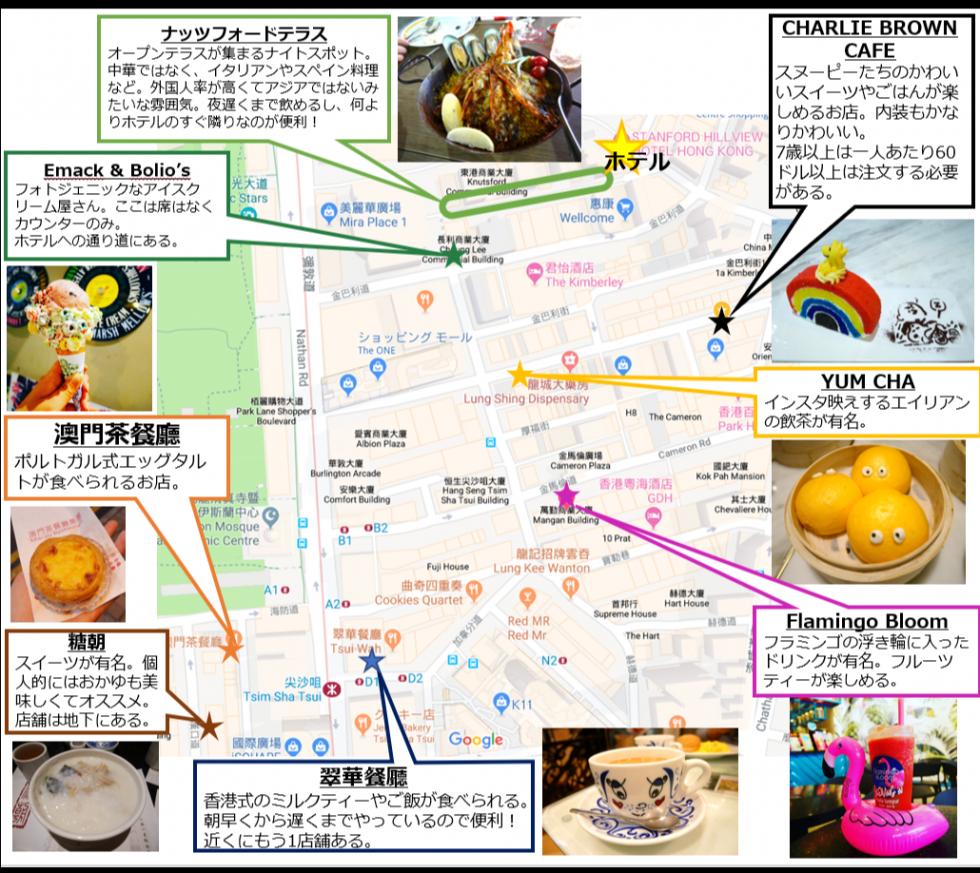 ホテル近くのお店で、オススメのお店の一部をピックアップしました。(2019年1月時点の位置) ガイドブックでは中環と書かれている店も、尖沙咀にもあったりします。尖沙咀だけでかなり香港を満喫できると思います。 見えにくいと思うので、詳細は調べてみてください。行くときは通りの名前を覚えておくと分かりやすいです。