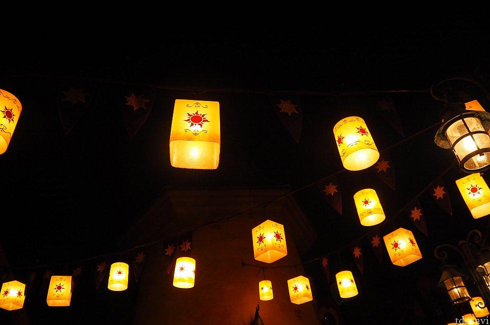 夜は幻想的。まさしく、ゴンドラからラプンツェルとユージーンがランタンをあげるような雰囲気。