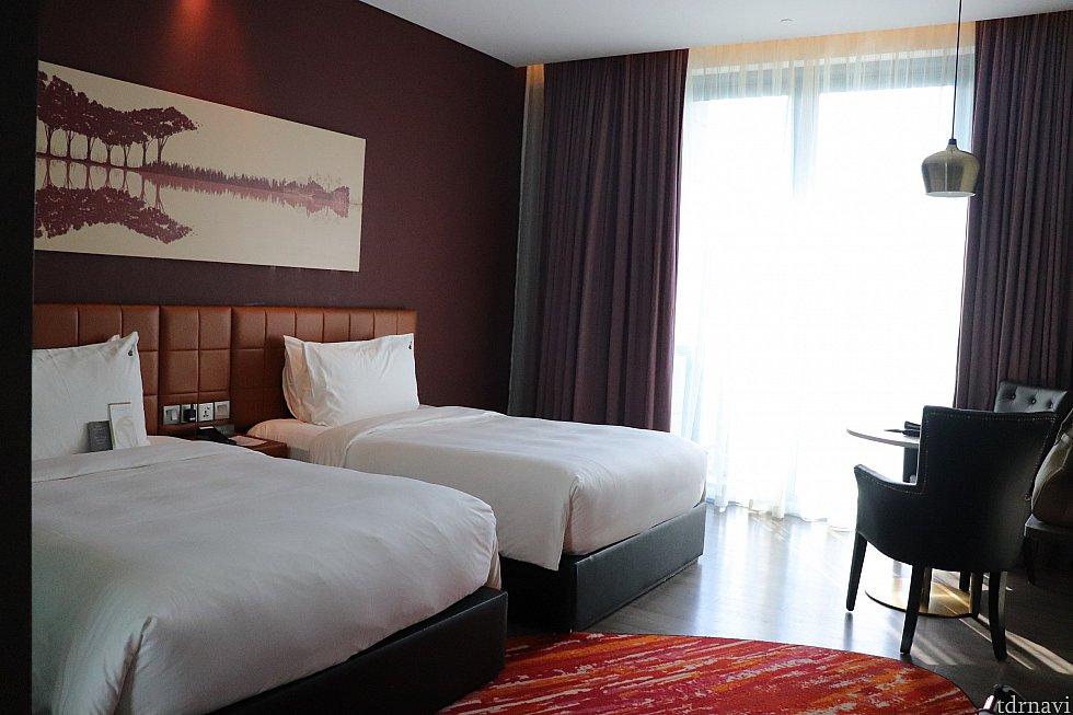 ツインベッドのお部屋、広くて快適でした