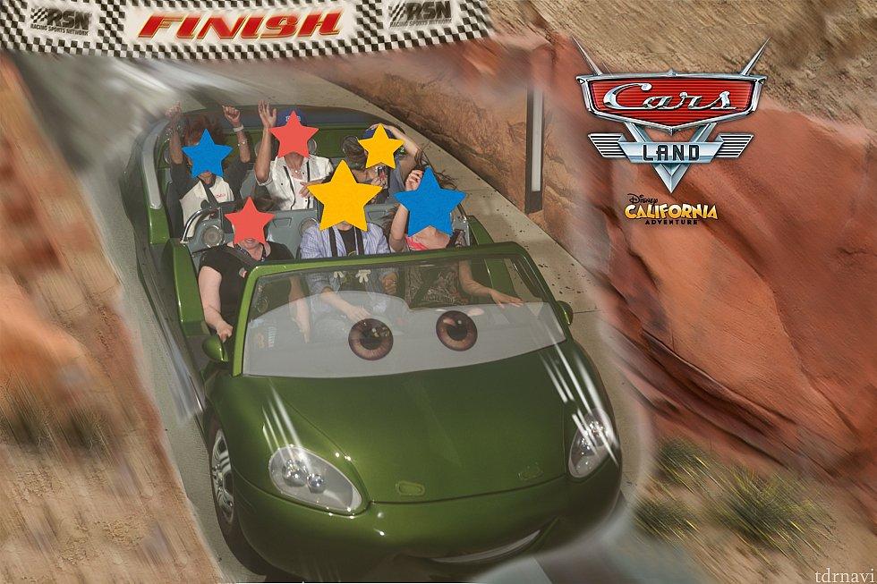 無事にファストパスエントランスを通過し、ラジエーター・スプリングス・レーサーを満喫!