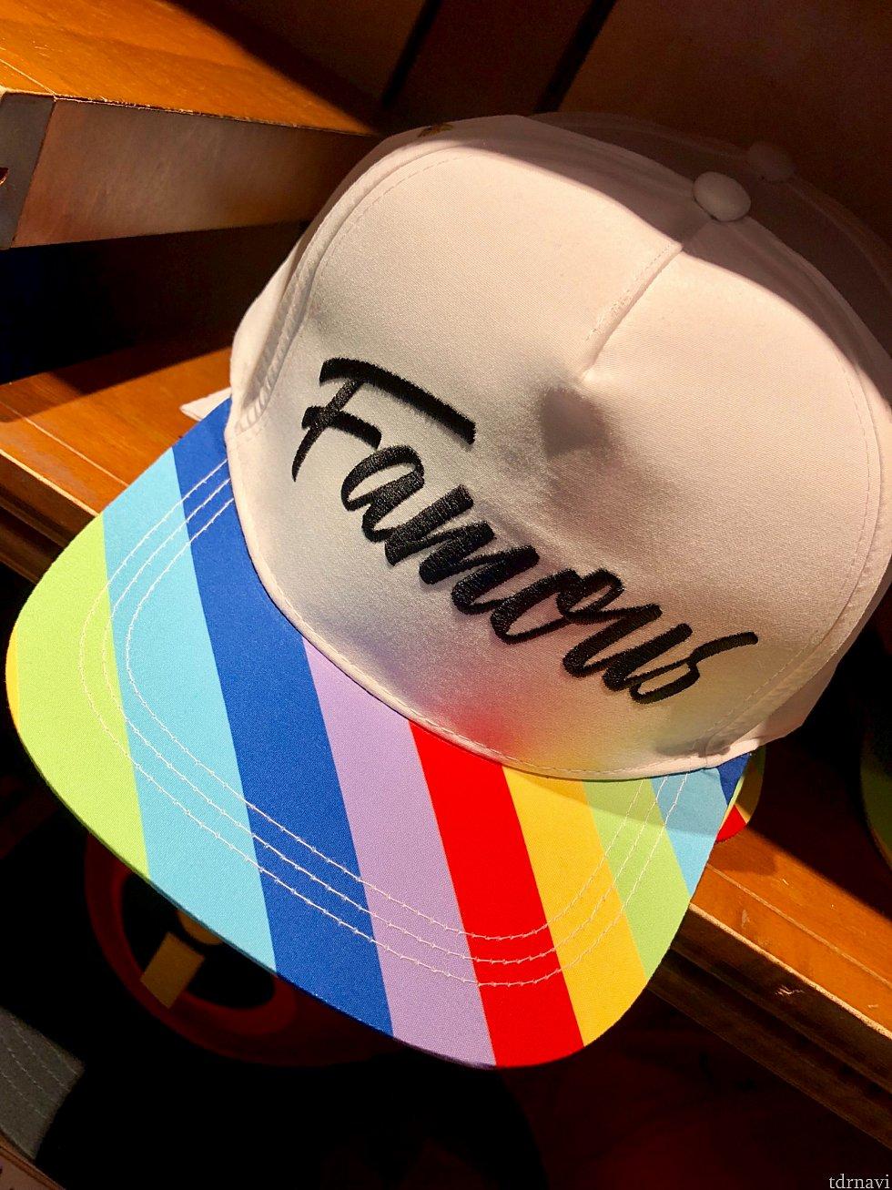 このキャップは、インサイドヘッドのユニコーンがモチーフ。ユニコーンの名前はfamousでしたっけ?後ろ側には、彼女の刺繍が。