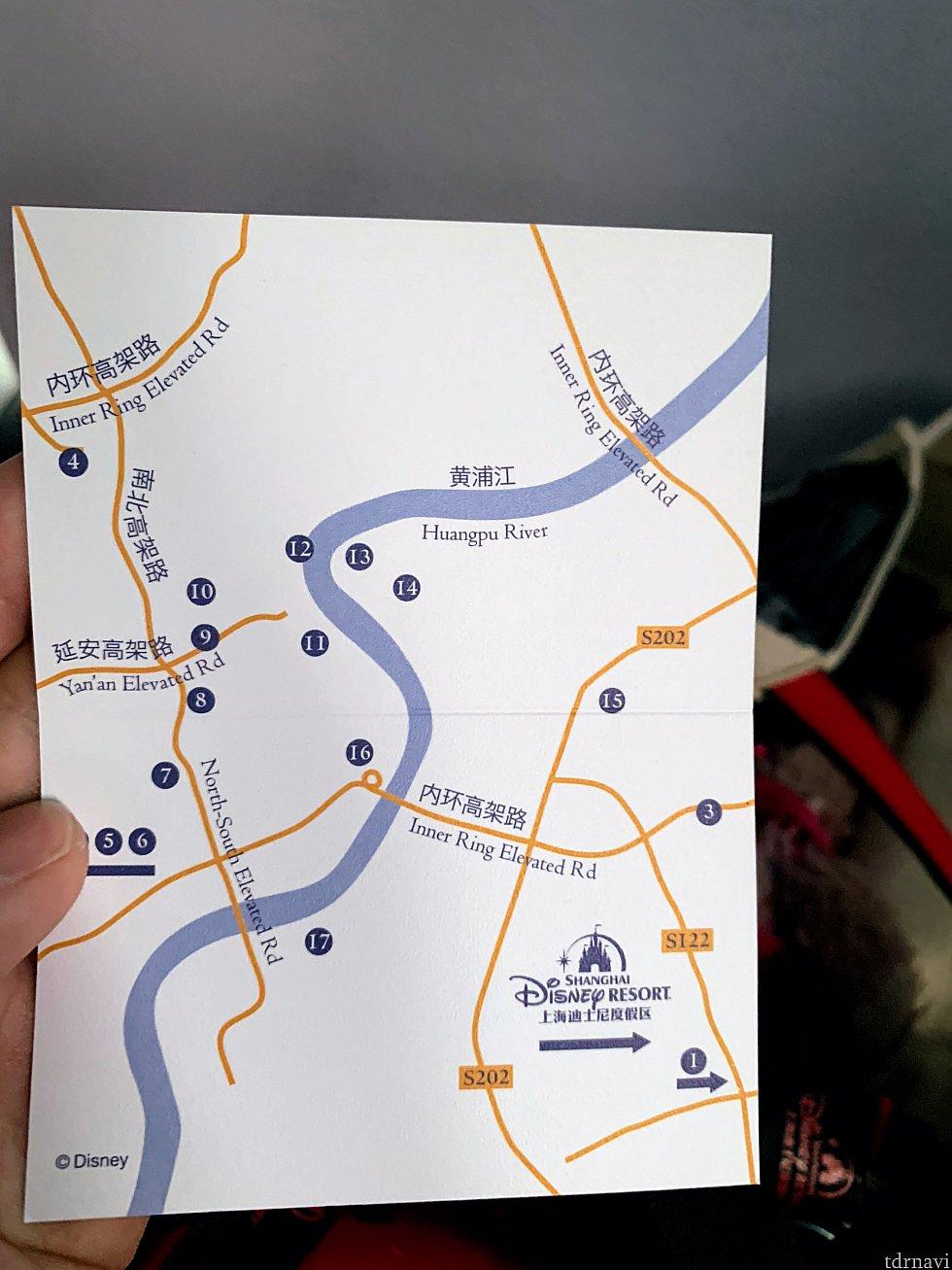 行き先カード 裏面 上海の地図です。 位置関係がわかりやすいです。