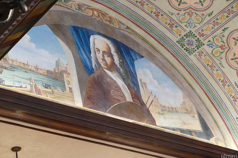 ベネツィアの画家カナレットの姿も