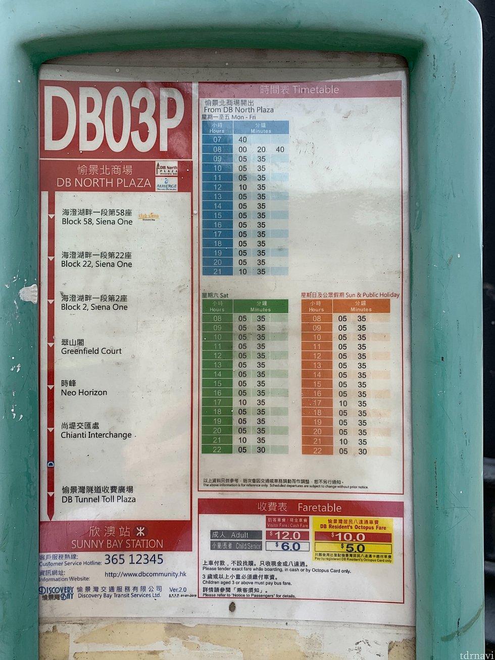 サニーベイまでの路線バス時刻表です。