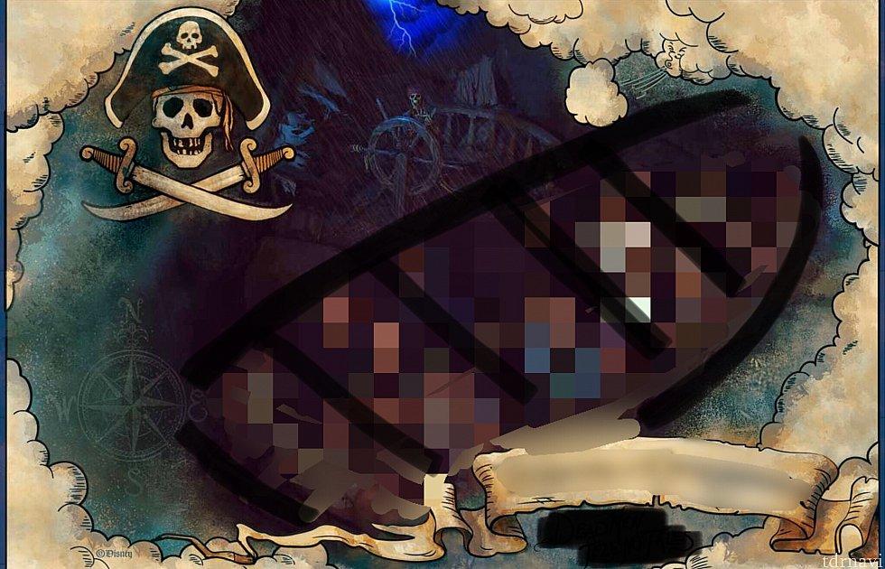 ディズニー・マイ・エクスペリエンスに送られてくる画像。黒い線がボートの大体の形。 !肖像権などの問題で一部修正をかけております。