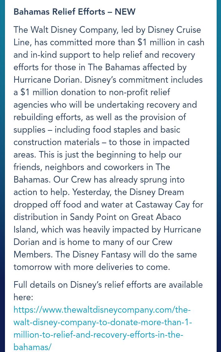 バハマ諸島支援に関するリリース(9月5日DCL公式)