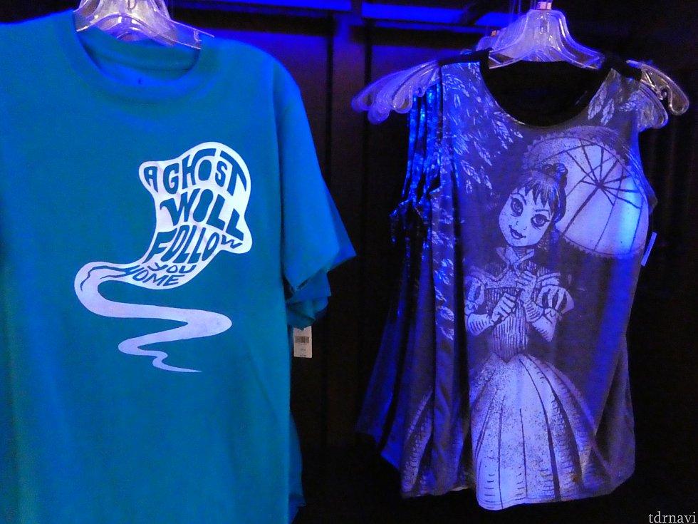 ・左:暗闇で光るTシャツ ・右:タイトロープ少女のTシャツ