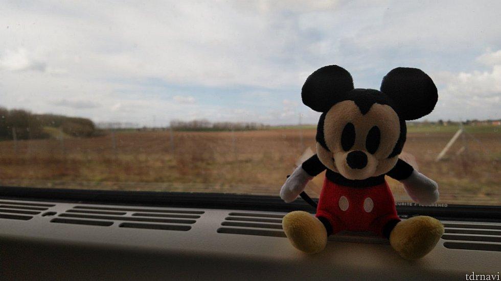ミッキーとのんびり電車の旅。