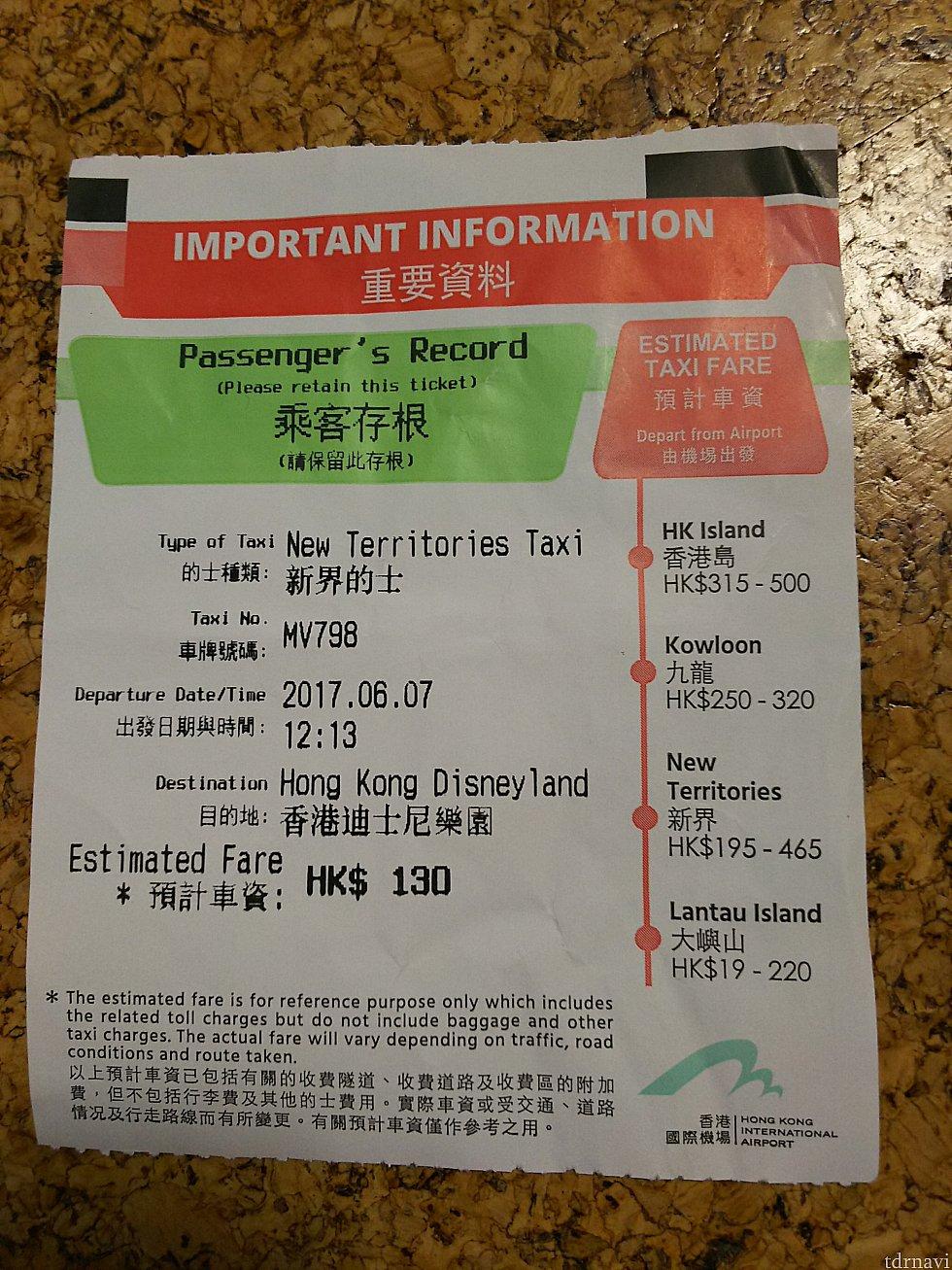 空港でタクシーに乗る前に貰える案内の紙。5月は貰えなくて不安でしたが、6月は貰えました。裏にはトラブった時の相談先案内が載っています。