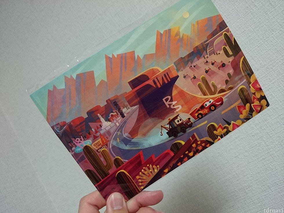 メーターとマックイーンがかわいいポストカード、4.99ドル。
