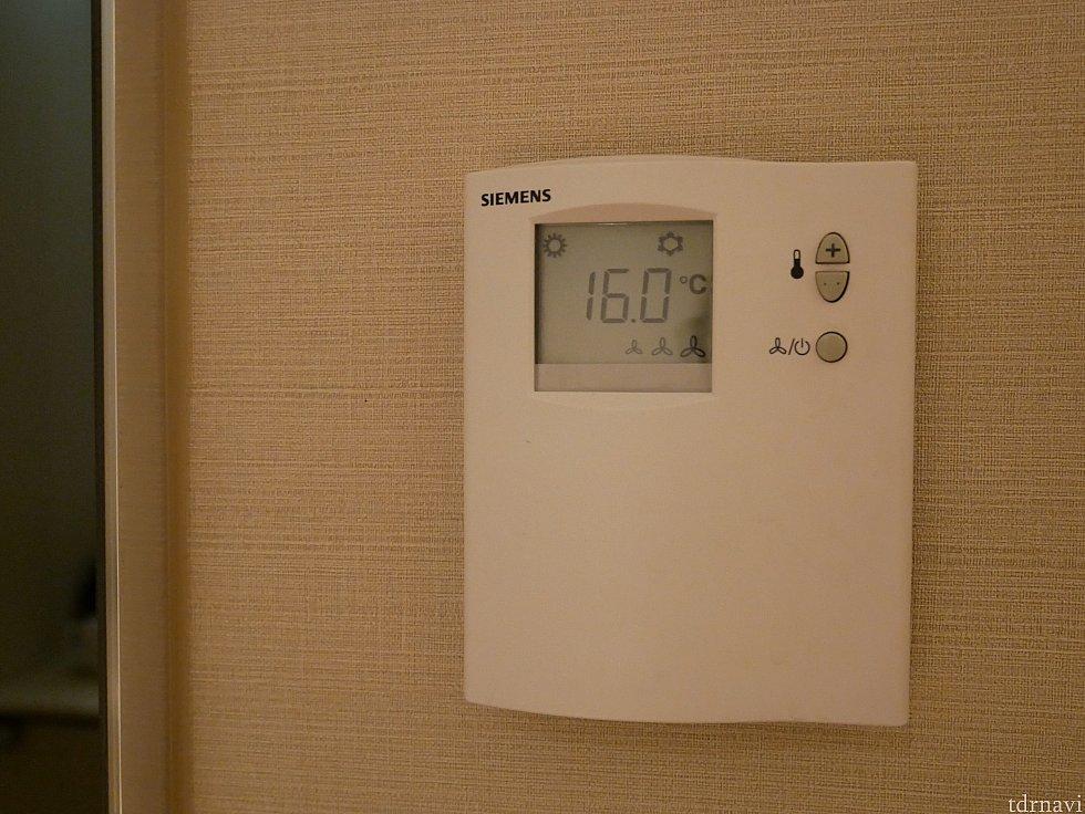 空調は℃表示で、調節しやすかったです。初期温度が16℃にびっくりしました😅