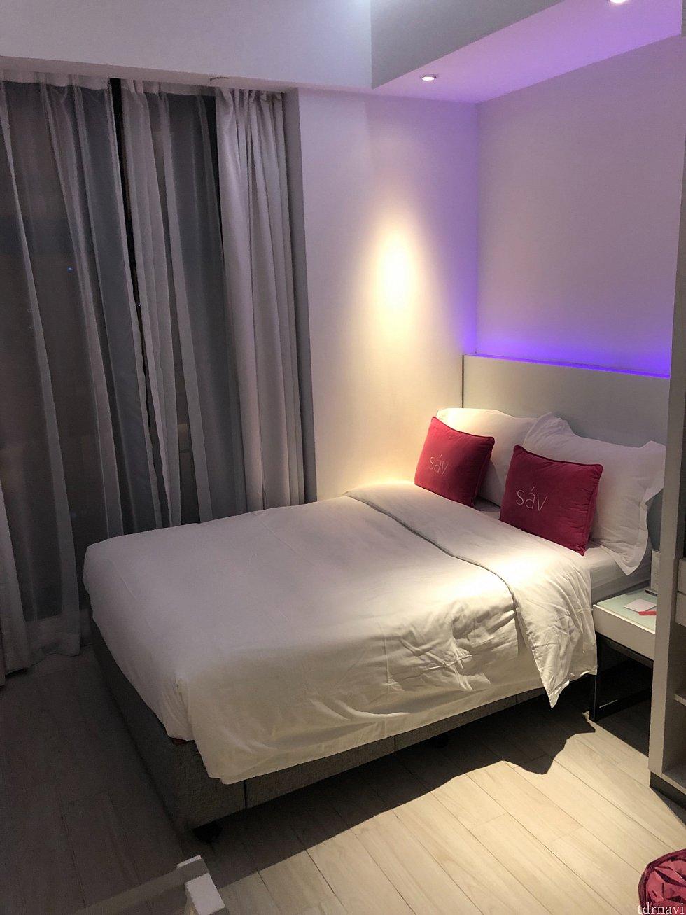 ベッドはダブルサイズで快適でした。