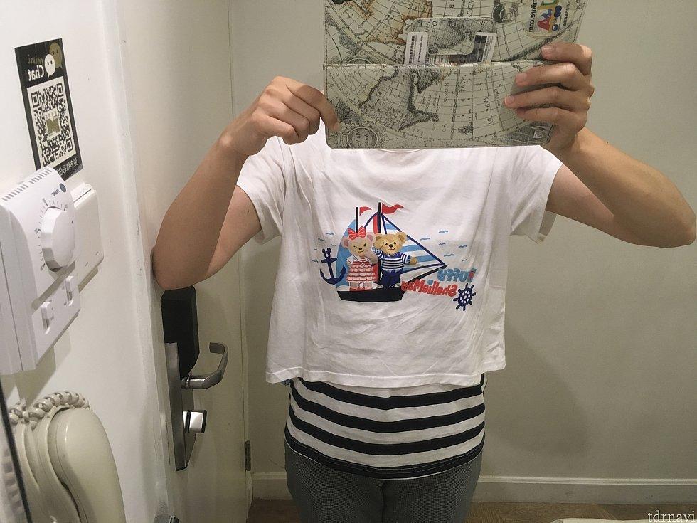 ここからはパーティーでいただいたもの。私の着ているダッフィー&シェリーメイのTシャツ(男性は香港パークの白いTシャツ)