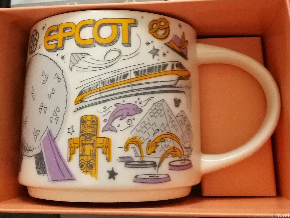 エプコット。商品を見ていたとき、他の日本人ゲストさんが「ディズニーっぽくないね・・・」 モノレールやスペースシップアース、イルミネーションズなどが描かれています。