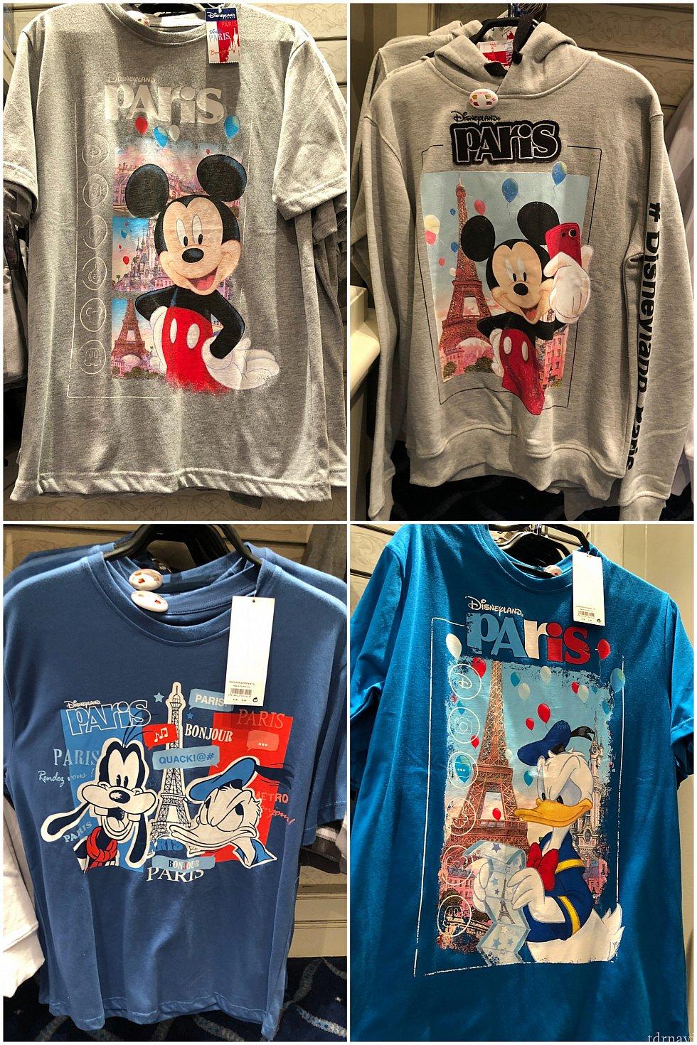 Tシャツ20〜25€。右上のパーカーは44.99€!