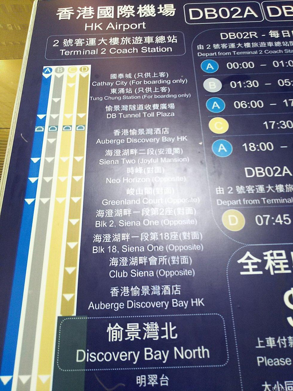 『DB02』の路線図。Dルートの『DB02A』とBルートの『DB02R深夜便』だとホテルに停車します。その他のバスだと2つめ(または3つめ)の『Siena Two』下車⇒徒歩になります。