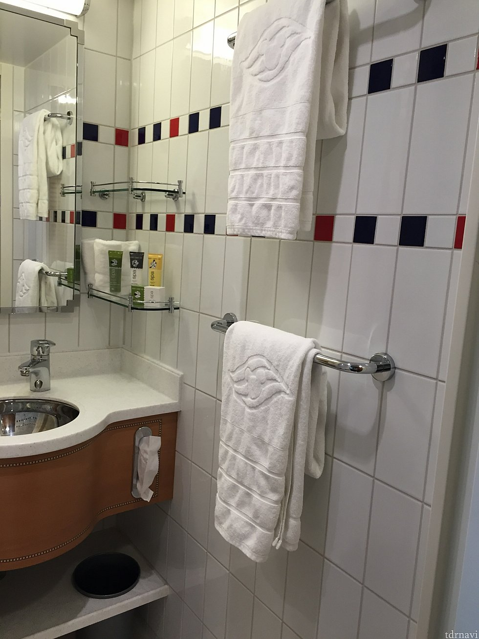 洗面台も清潔♪タオルのクルーズロゴにテンション上がりました♡