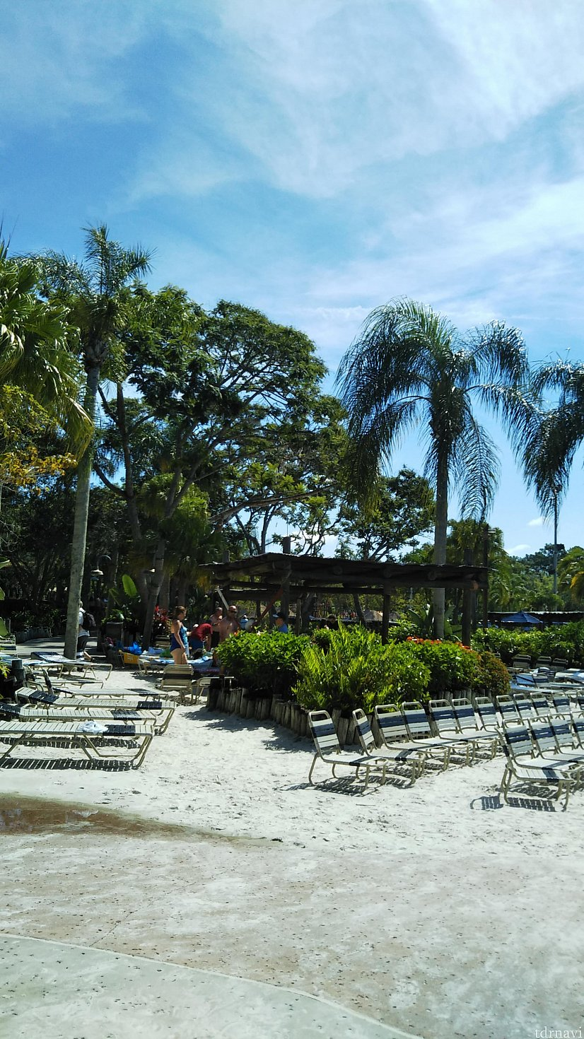 パラソルは基本的に無く、写真のように日なたの席が多いです。 日陰は屋根のある席か、木陰となります。
