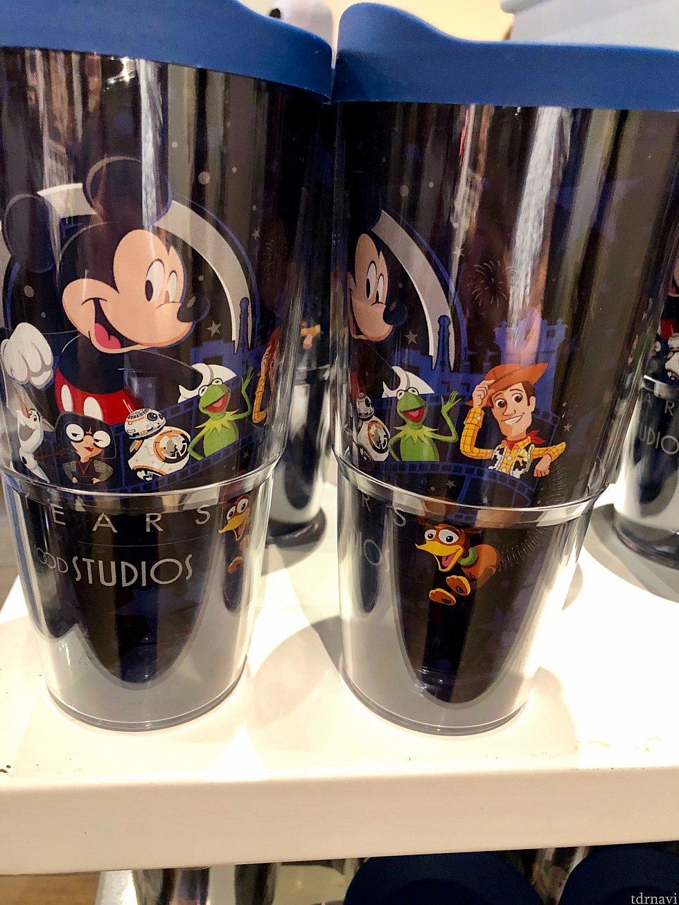 ハリウッドスタジオのアトラクションになっているキャラクター達が描かれたウォーターボトル。