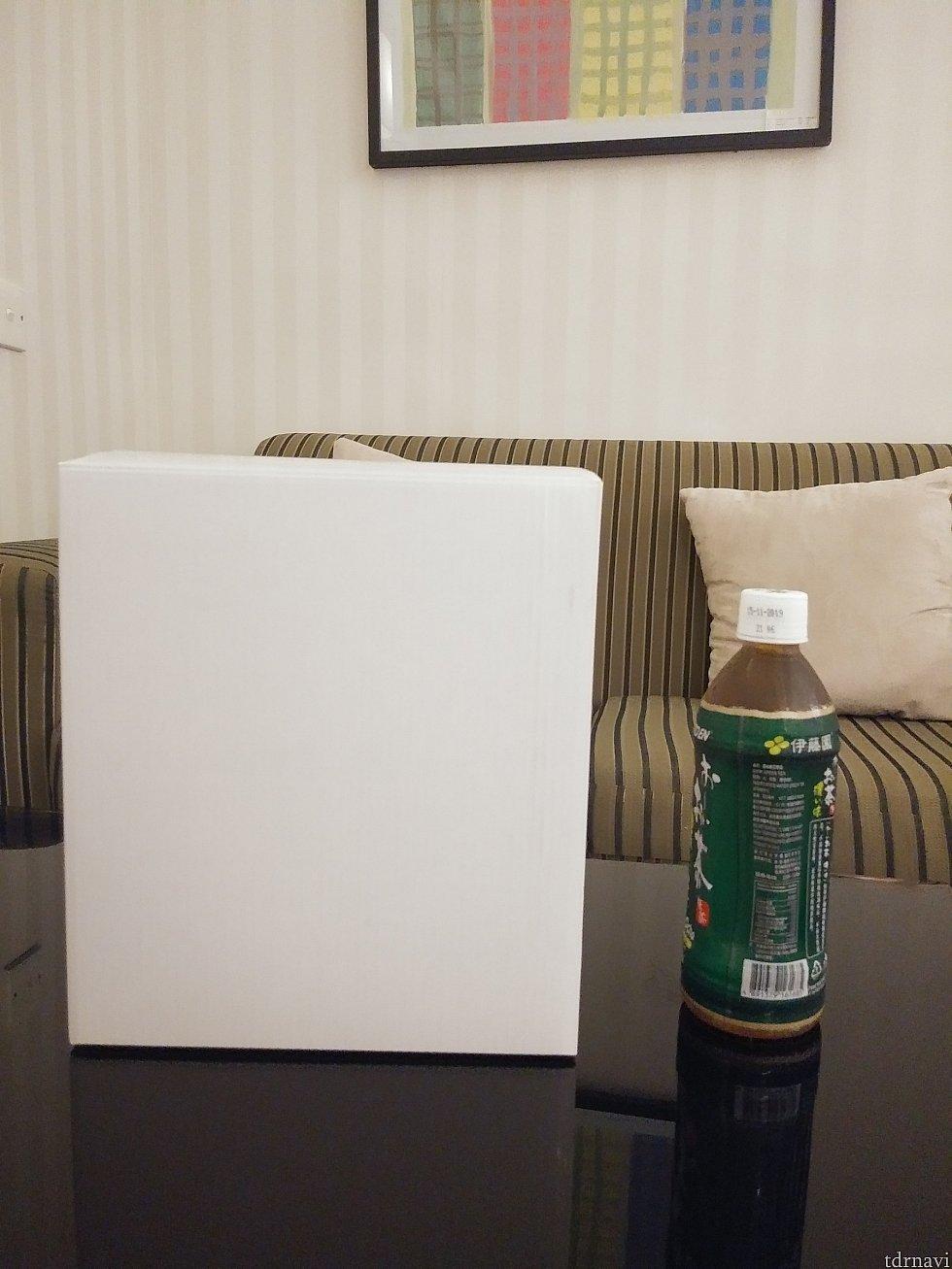 【サイズ】横から見た写真 箱に入ると500mlのペットボトルより大きい! ホテルで荷物と格闘しました💦
