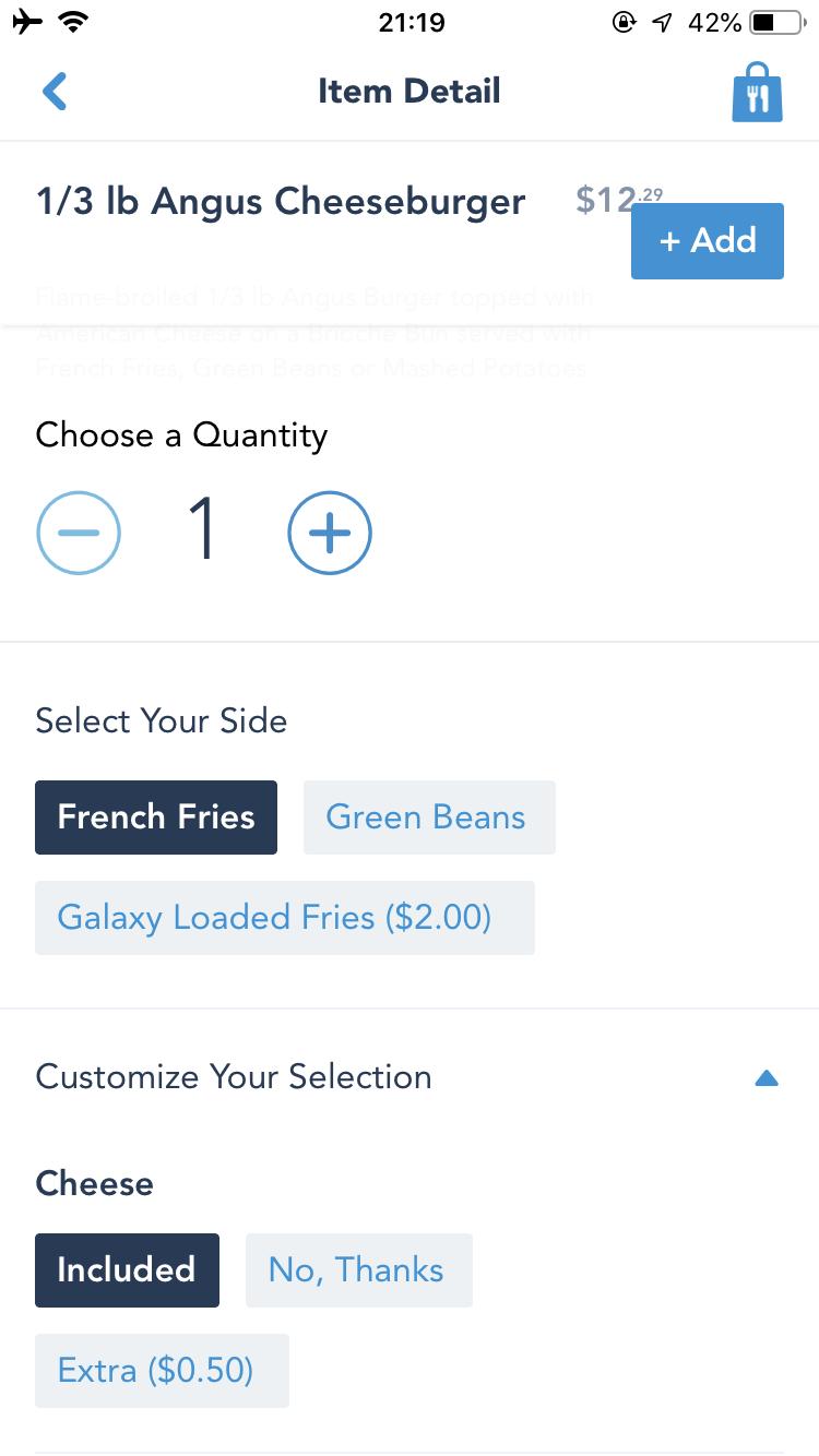 個数とサイドの種類、カスタマイズなどわかりやすく選べます。 Galaxy friesはモバイルオーダー限定♪