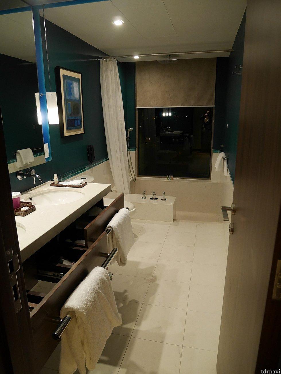 洗面所。シャワーだけかと思いきや……