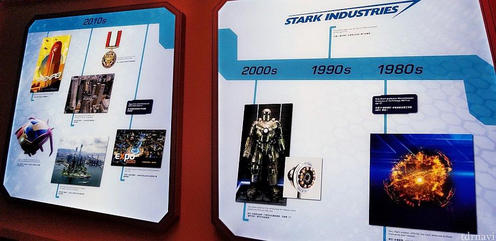 トニー・スターク年表がずらっとあります。これは大学を卒業~初めてのアイアンマンスーツを製作~アイアンマン2でのスタークExpoまで