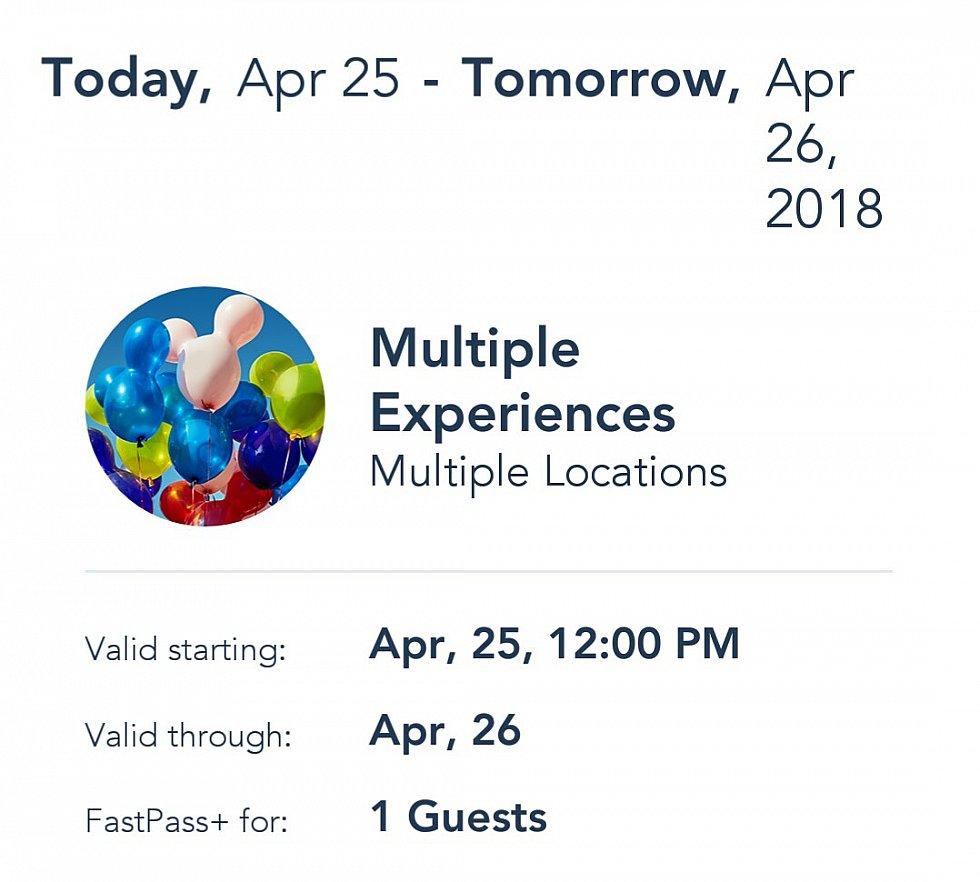 アトラクションの予約時間が近づくとWDWアプリにこちらの「Multiple Experiences」が表示されました。こちらの画面で使用できるロケーションと有効期限の確認ができます。
