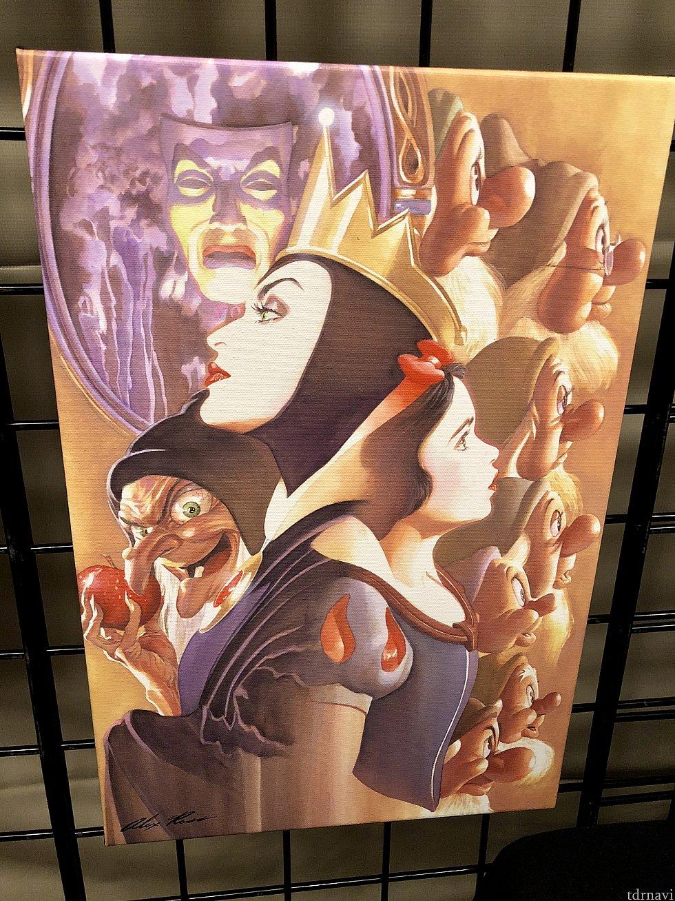 僕が今回一番気に入ったアートからご紹介したいと思います。このスノーホワイトの絵のクオリティ、構図、各キャラクターの表情、カラー、白雪姫と魔女の対比、全てにおいて素晴らしい作品だと思いました。