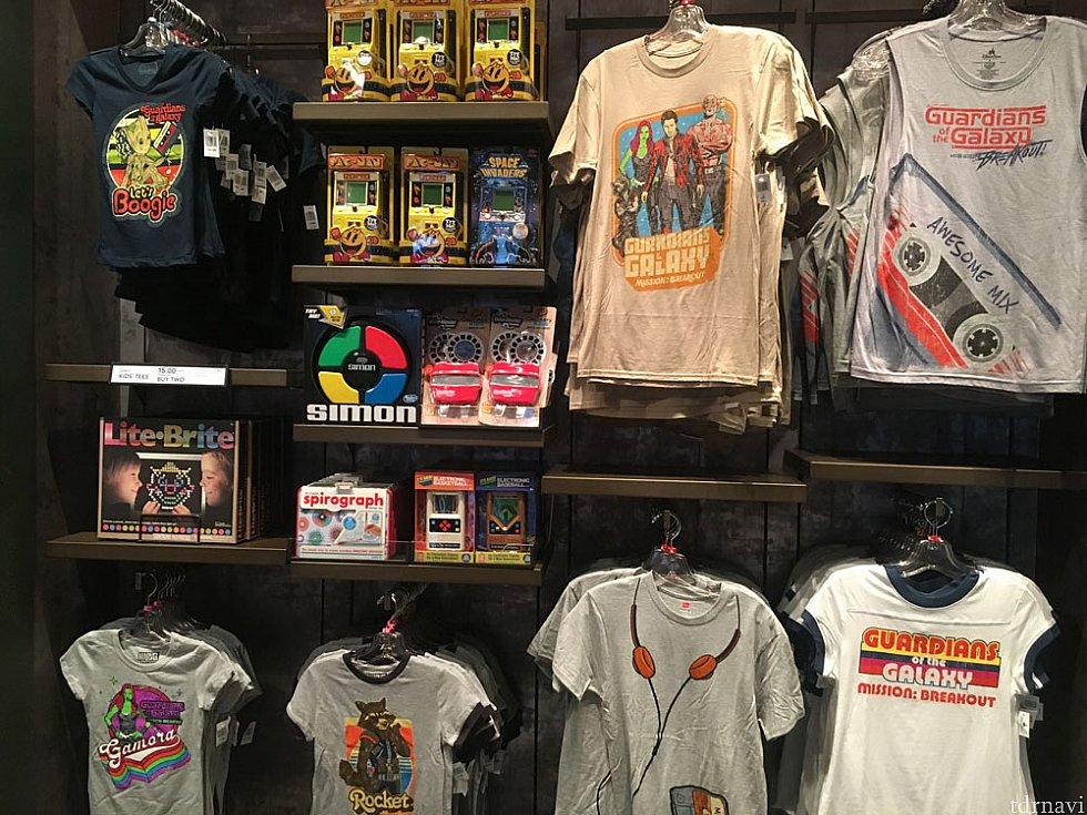 ガーディアンズオブギャラクシーのTシャツなど。デザインがお洒落です