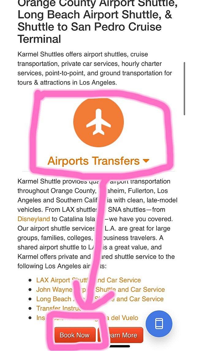 1.ホームページから予約<br> KARMELのホームページ中程の空港送迎(Airports Transfers)を選択→予約(BOOK NOW)