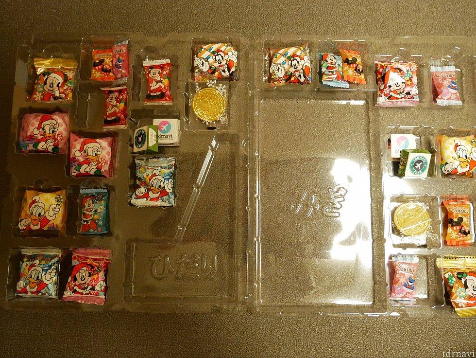 一ヶ所に1つ入れるため、キットには24個のお菓子が入っています。小さいお菓子もあったので、そういうものは2つセットに入れて、余ったところには自分の持っていた別のお菓子を忍ばせました😜