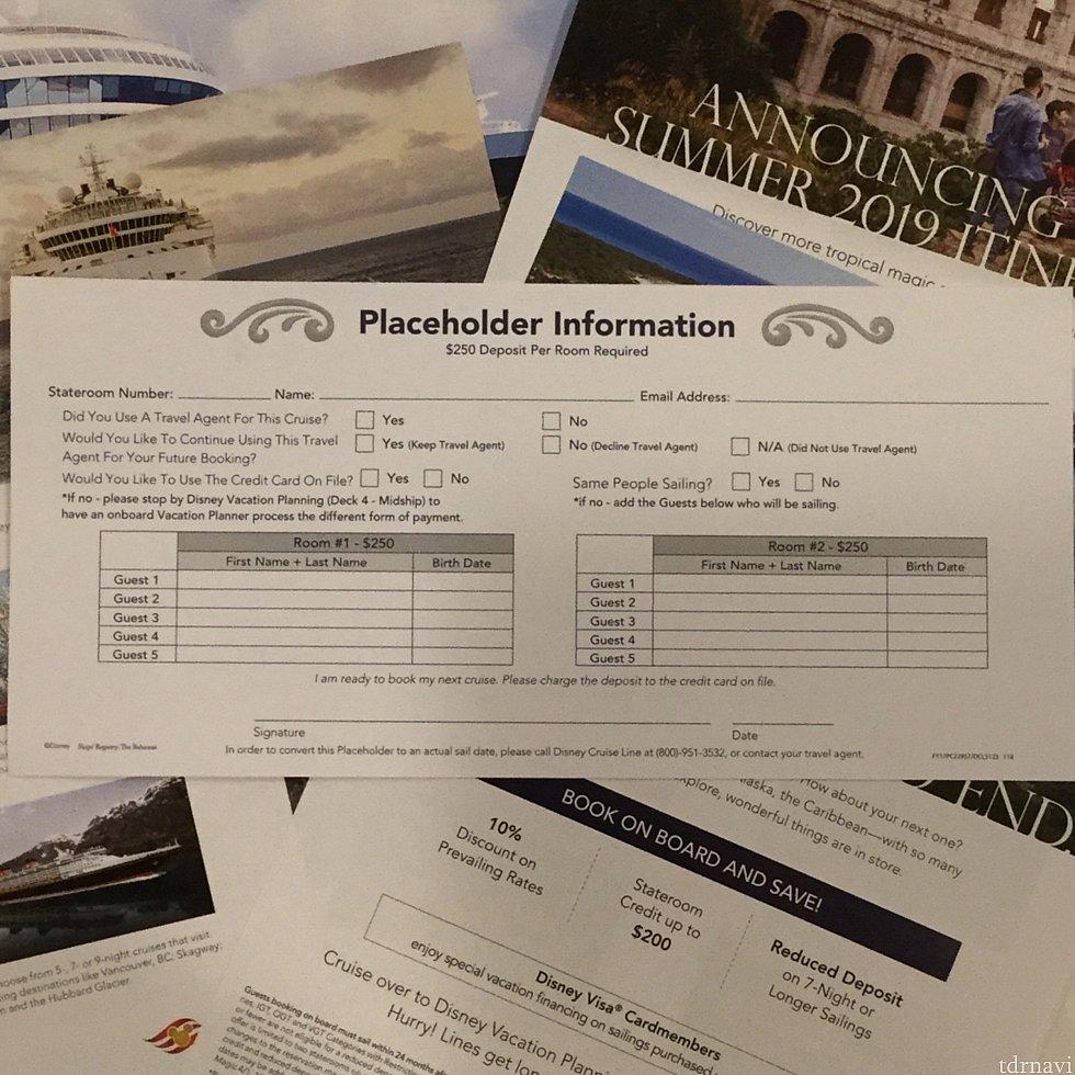 Information on Placeholder の裏面です。ココに予約内容を記入します。