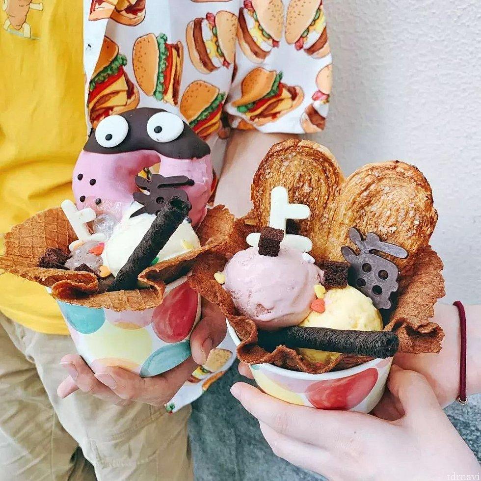 ディズニータウン公式wechatより アイスクリーム。トッピングが凄い