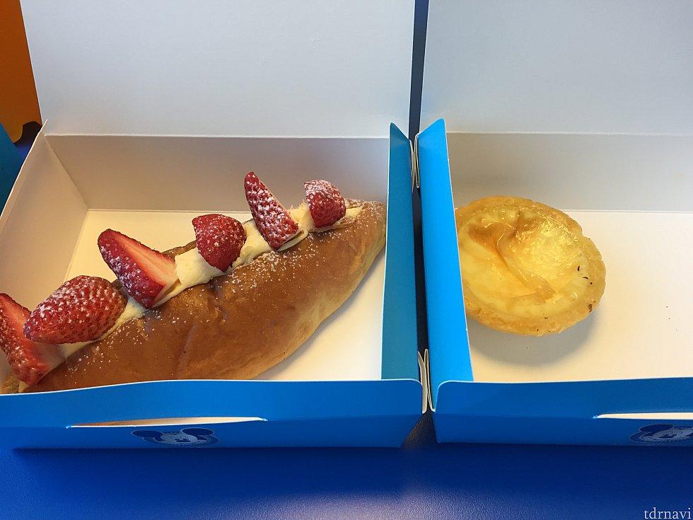 サニーサイドマーケットのイチゴの乗ったクリームパンとエッグタルト。