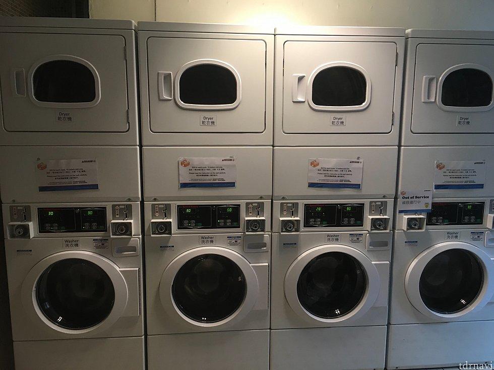 ランドリー。上が乾燥機、下が洗濯機です。そして奥に…、