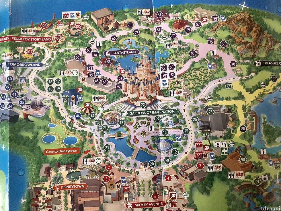 ガイドマップでのパレードルートです。どこでみてもいいかと思います。