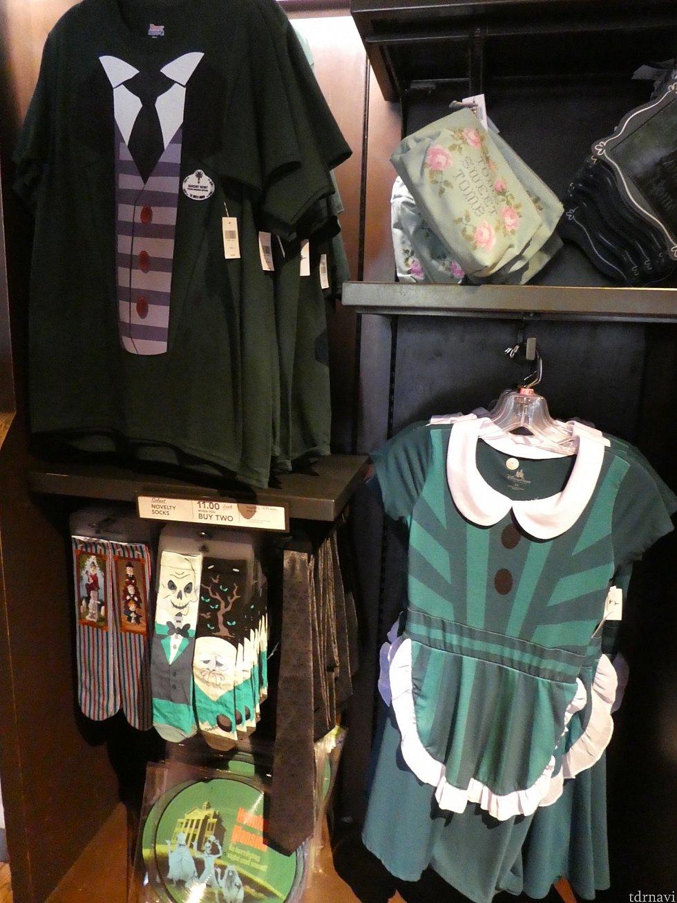 ・キャストコスチュームデザインのTシャツとワンピース ・左下:壁紙柄ネクタイ